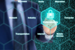 Sachverständiges IOT Konzept cybersecurity Gitter der Sicherheit Lizenzfreie Stockfotografie