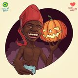 Saci Perere day and Halloween - October 31th. Saci Perere, brazilian folklore legend and Jack O`Lantern shoting a selfie to celebrate october 31th Stock Photography