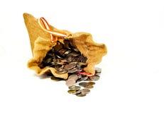 Sack вполне монеток и стог монеток приходит вне от мешка на wh Стоковая Фотография