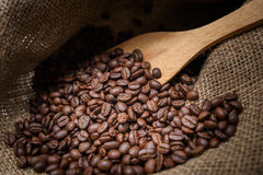 Sack bag with coffee arabica Royalty Free Stock Photo