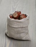 Sack bag full of hazelnuts Stock Photos