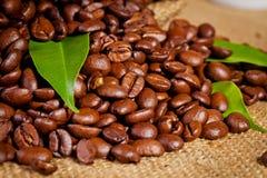 Sack bag full of roasted coffee beans Stock Photo