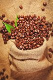 Sack bag full of roasted coffee beans Royalty Free Stock Images