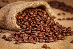 Sack bag full of roasted coffee beans Royalty Free Stock Photo