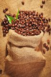 Sack bag full of roasted coffee beans Stock Photos