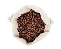 Sack bag full of roated coffee beans Royalty Free Stock Photo