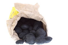 Sack, bag isolated  coal, carbon nuggets Royalty Free Stock Photo