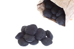 Sack, bag isolated  coal, carbon nuggets Stock Image