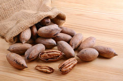 Sack bag  with nuts Royalty Free Stock Images