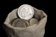 Sack bag with old silver coins Royalty Free Stock Photography