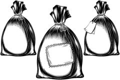 Sack Bag Rope Monochrome Sketch Ink Hand Drawing Icon Set Stock Photography