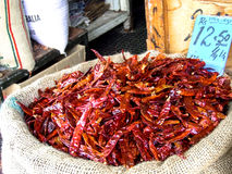 A sack of chili at the market. In Mauritius stock photos