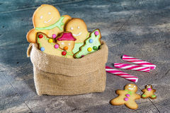 Sack with Christmas cookies Royalty Free Stock Photos