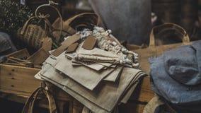 Sack Cloth Woman Shopping Bag stock photos