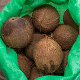 Sack of coconuts, natural food Stock Photo