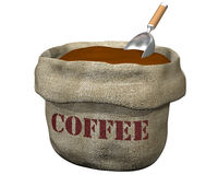 Sack of coffee. Isolated illustration of an open sack containing coffee Stock Photo