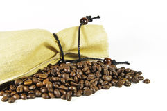 Sack with coffee beans Royalty Free Stock Photos