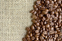 Sack and coffee beans background Stock Photo