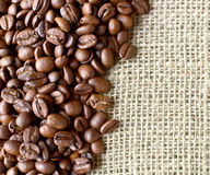 Sack and coffee beans background Stock Photography