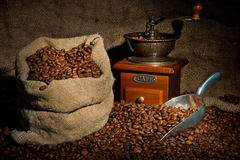 Sack of coffee beans, coffee grinder Stock Photos