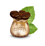 Sack of coffee beans and fresh leaves isolated Royalty Free Stock Photo