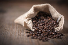 Sack with coffee beans Royalty Free Stock Photo