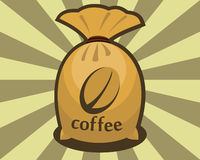 Sack of coffee beans. With a picture of a coffee bean on it Royalty Free Stock Image