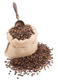 Sack of coffee beans with retro scoop isolated on white Royalty Free Stock Photo