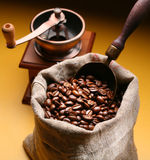 Sack of coffee beans and scoop. Stock Photography