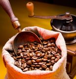 Sack of coffee beans and scoop. Royalty Free Stock Image