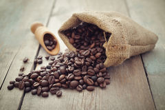 Sack of coffee beans Stock Photography