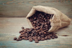 Sack of coffee beans Royalty Free Stock Photo