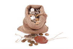 Sack with coins Stock Images