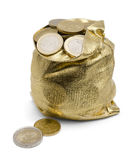Sack of Coins. Golden Money Sack Full of  Euro Coins Royalty Free Stock Photos