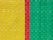 Sack color stripe background surface, summer color layer, color chessboard grid, red yellow green, majority yellow at right side Royalty Free Stock Image