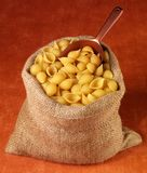 SACK OF CONCHIGLIE PASTA stock photography