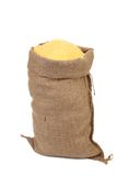 Sack with corn flour. Stock Photo