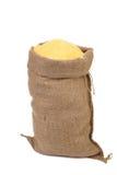 Sack with corn flour. Stock Photo