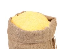 Sack with corn flour. Royalty Free Stock Photos