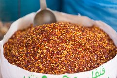 Sack of crushed red chili pepper. royalty free stock photo