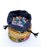 Sack of crystal beads. Various colors, isolated on white Stock Images