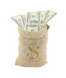 Sack with dollars isolated Stock Images