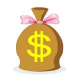 Sack of dollars with a pink bow, vector. A large bag full of dollars with a pink bow, vector illustration Stock Images