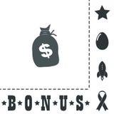 Sack of dollars. Simple flat symbol icon on white background. Vector illustration pictogram and bonus icons Royalty Free Stock Image