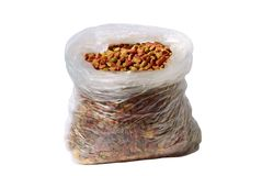 Sack of a dry cat's forage. It is isolated on a white background Royalty Free Stock Photos