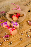 Sack with easter eggs. Sack  with some fancily decorated Easter eggs Royalty Free Stock Photo
