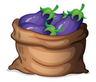 A sack of eggplants Royalty Free Stock Image