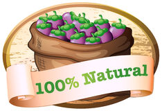 A sack of eggplants with a natural label Royalty Free Stock Photo
