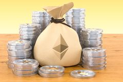 Sack with ethereum symbol and coins around on the wooden table,. Sack with ethereum symbol and  coins around on the wooden table, 3D Royalty Free Stock Photos