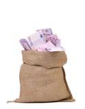 Sack with euro bills. Stock Photo